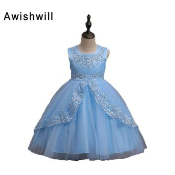 2018 Flower Girl Dresses For Weddings Ball Gown Scoop Neck Satin and Tulle Appliques Bow First Communion Dresses For Girls