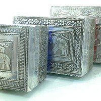 Hand embossed Elephant jewelry boxes