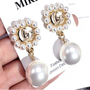 GUCCI Women Fashion New Letter More Pearl Personality Long Earring Accessories