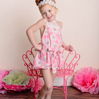 Country Girl Vintage Lace Bubble Romper Pink Floral - Toddler & Girl Sizes