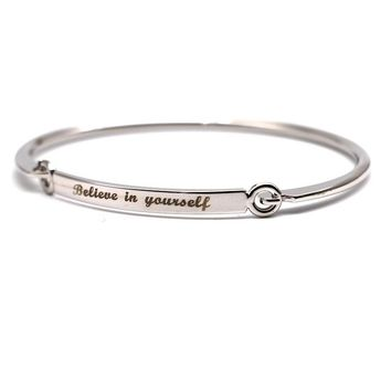 """Believe In Yourself"" Hand Stamped Bangle [Silver or Gold]"