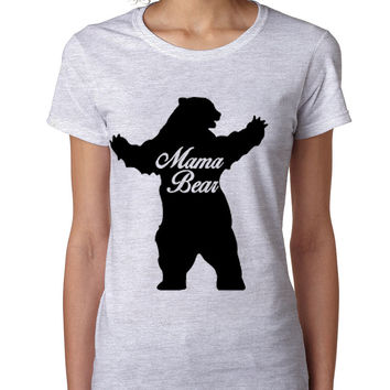 Women's T Shirt Mama Bear Family Top For Mom Xmas Cute Gift