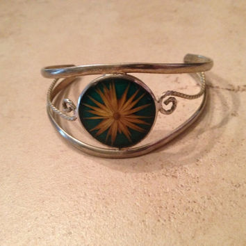 Vintage Alpaca Silver Cuff Bracelet Green Flower Inlay Mexico Jewel