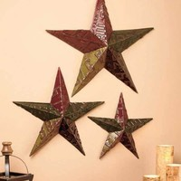 Set Of 3 Metal Stars Retro Vintage Style License Plate Wall Art Home Decor
