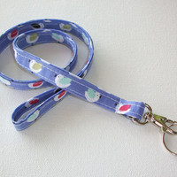 Lanyard  ID Badge Holder -  Lobster clasp and key ring New Thinner  / Skinny Design - Little birds lpn rn teacher gift