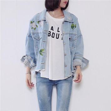 Light Blue Denim Jacket Women Embroidered Bomber Denim Jacket Female Outerwear Womens Autumn Jackets Coats Chaquetas Mujer C2621