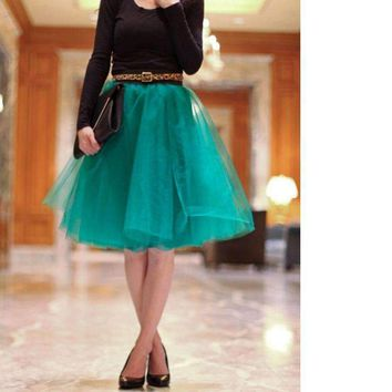 Green Lady Skirts Knee Length Tulle Skirts Weddings Formal Christmas Party