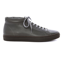 CN112 - Mid cut minimalist gray color leather sneaker