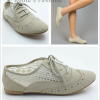 New Fashion Qupid Salya-630 Nubuck Lace Fabric Lace Up Pointy Toe Oxford Flats