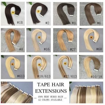 "12 Colors! Tape in Hair Extensions 20pcs/pack Tape In Hair Skin Weft 30g-50g Remy Hair 14""  16"" 18"" 20"" 22"" 24"""