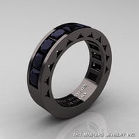 Mens Modern 14K Black Gold Princess Black Diamond Channel Cluster Sun Wedding Ring R274-14BGBD