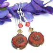 Persimmon Orange Flower and Crystal Earrings, Handmade Autumn Fall Artisan Jewelry