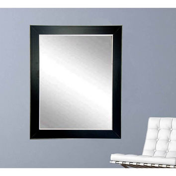 "Brandt Works Silver Accent Black Wall Mirror BM011L 32""x38"""