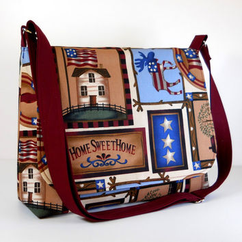 Cross Body Messenger Patriotic Purse - 4th of July in Tan, Blue and Maroon