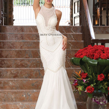 White Long Pearl Gown MayQueen USA RQ7368