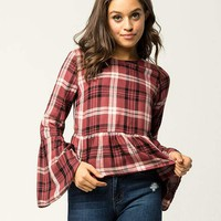SKY AND SPARROW Plaid Womens Peplum Top | Tops