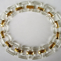Trifari Lucite Modernist Necklace Large Clear Links
