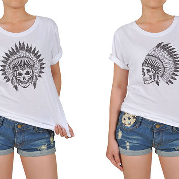 Women Skull wear indian headdress Printed Cotton T-shirt  WTS_12