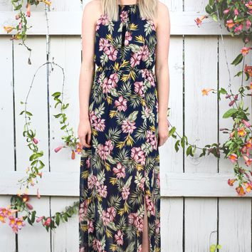 Floral Double Slit High Neck Maxi Dress {Navy Mix}