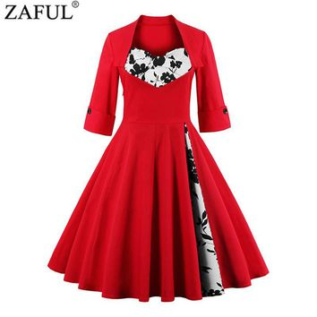 ZAFUL UK Women plus size clothing Audrey hepburn 50s Vintage elegant V neck robe feminino Ball Gown Party Retro Dress Vestidos
