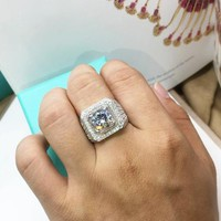 Mens Wedding ring, 3 Ct Center Man Made Diamond Pave Set Ring Wedding bands, Right Hand Ring, Gift for guys/ dad/ fathers day, Free Ring Box