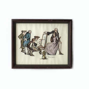 ON SALE - Wall Art Litho, Vintage Framed Print, Anthony Gruerio, Colonial People Scene