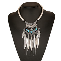 Leaves Tassel Metal collar Fashion Rhinestones Vintage Metal Choker Statement Necklaces & Pendants Collares Jewelry