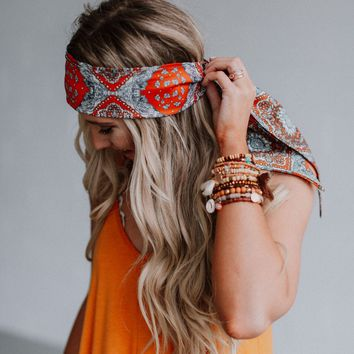 Moroccan Tile Printed Scarf - Rust