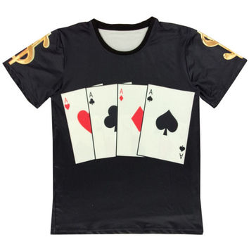 Black Lucky and Ace Cards Print Shirt