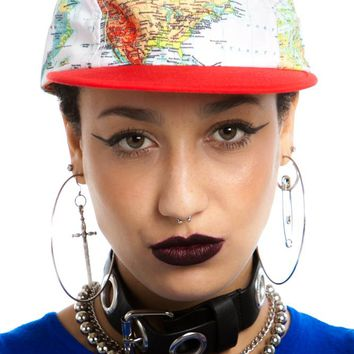 Vintage Y2K World Map Cap