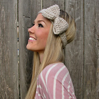 Bow Headband In Linen With Natural .. on Luulla