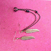 Feather charm ear cuff double chain earrings by AsamiCreations