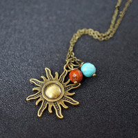 Sun Necklace  Retro Bronze Jasper Turquoise Necklace   Dainty  Stone Children Necklace Gift For Him  Gift For Son Gift for Daughter Necklace