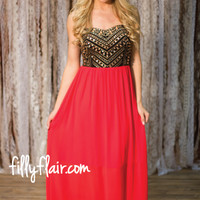 Twinkling Star Maxi in Red - Dresses