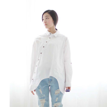 New Women Shirt Cotton Linen Slant Oblique Button White Blue Floral Turn-down Collar Irregular Plus Size Solid Loose Blouse