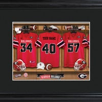 College Locker Room Print in Wood Frame - Georgia