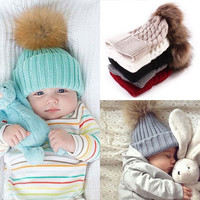 2016 Warm Baby Hat Fur Ball Hat Child Children's Winter Hats For Girl Boys Winter Caps All For Children's Clothing