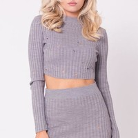 What's it Gonna Be Distressed  Knit Two Piece Set