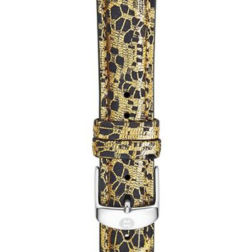 Women's MICHELE 18mm Leather Watch Strap - Black Lace/ Gold