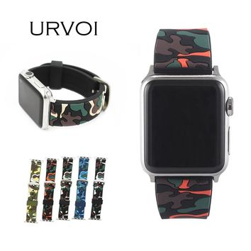 URVOI sport band for apple watch series 3 2 1 strap for iWatch CAMO color Soft Silicone Replacement camouflage band with adapter