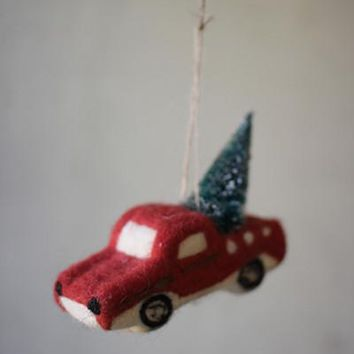 Felt Truck With Christmas Tree