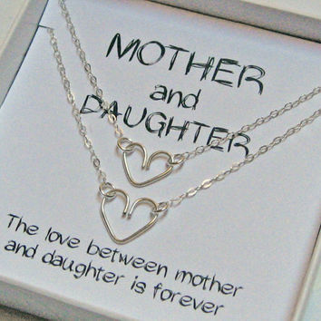 Mother Daughter Heart Necklace, 925 Sterling Silver, Wire Handcrafted Heart, Matching Heart Necklace, Mother's Day Gift, Jewelry Set