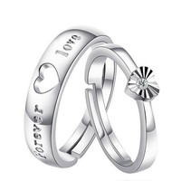New Arrival Sterling Silver Forever Love Zircon Heart Opening Adjustable Couple Ring = 1930026628