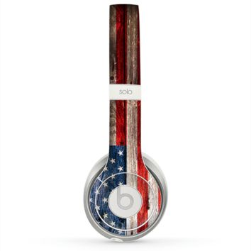 The Wooden Grungy American Flag Skin for the Beats by Dre Solo 2 Headphones