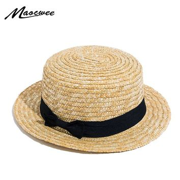 Lady Boater Sun Caps Ribbon Round Flat Top Straw Beach Hat Panama Bowknot Hat Summer Hats for Women Straw Hat Snapback Gorras