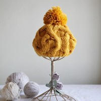 Heritage Heart Knit Beanie In Yellow