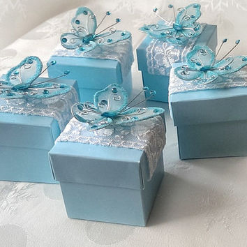 blue butterfly favor box, wedding, bridal shower, baby shower, anniversary party gift box set of 10