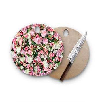 Flower Wall Round Cutting Board Trendy Unique Home Decor Cheese Board