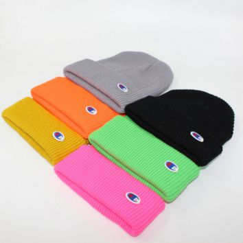 Champion Winter Purple Color Embroidery Men And Women Couples Knitted Hats G
