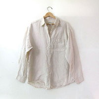 vintage linen shirt. button down shirt. natural minimalist shirt